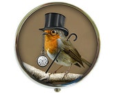 Dandy Bird Pill Box Stash Case Silver Steampunk