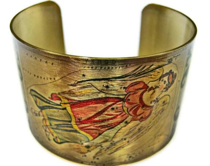 Virgo Zodiac Astrology Hoscope cuff bracelet brass   Gifts for her