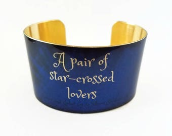 Romeo and Juliet William SHAKESPEARE brass cuff bracelet Star Crossed lovers