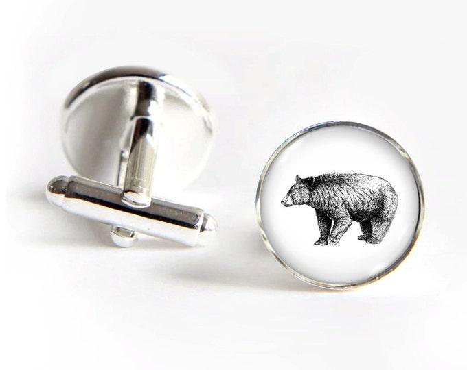BEAR Cufflinks silver 18mm cuff links Gifts for him