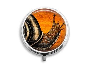 Snail Pill Box Stash Case Silver