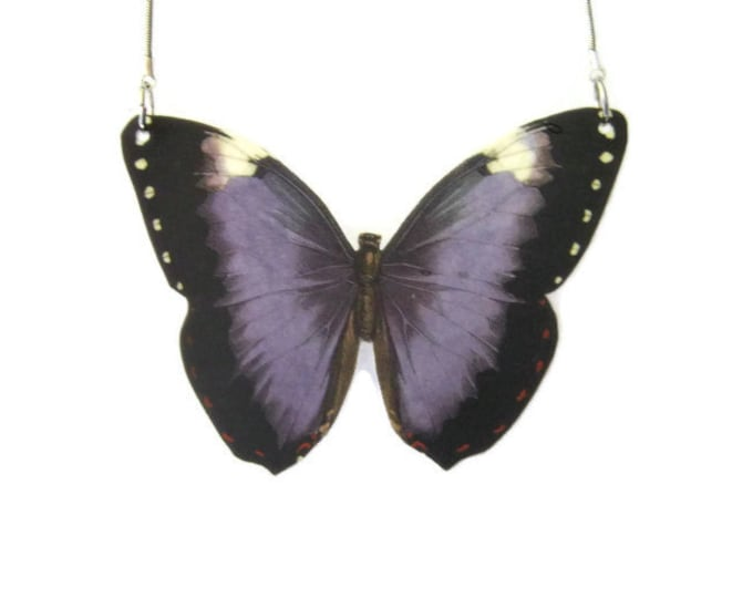 Purple Butterfly Pendant Necklace Large or Small Gifts for her