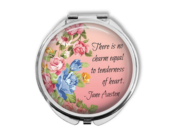 """Jane Austen """"There is no charm equal to tenderness of heart"""" Compact Mirror Pocket Mirror Large"""