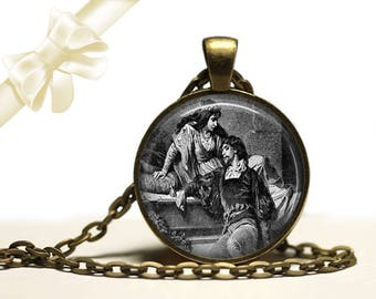 Romeo And Juliet Shakespeare Necklace brass Pendant Necklace Free Shipping Gifts for her