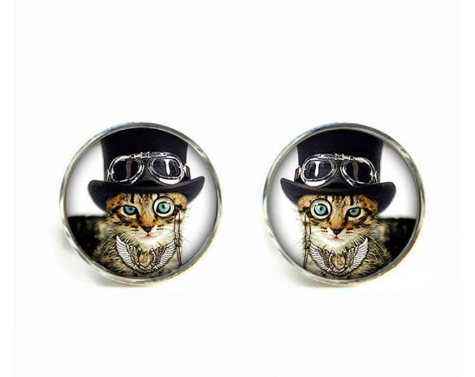 Dandy Cat small post stud earrings Stainless steel hypoallergenic 12mm Gifts for her