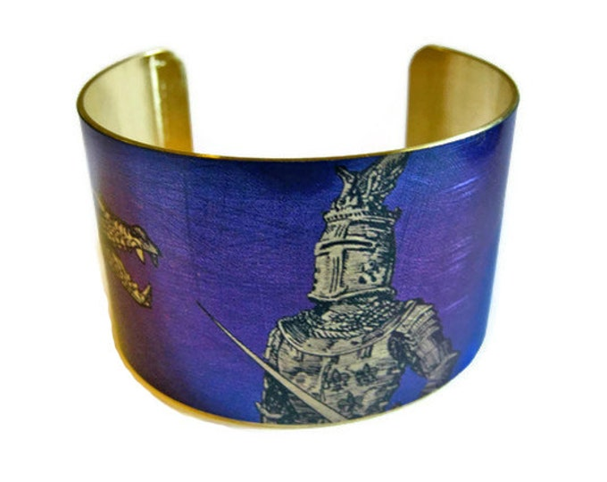 KNIGHT AND DRAGON cuff bracelet brass Gifts for her