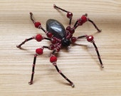 Red & Black High Priestess Hand Beaded Spider with Stand