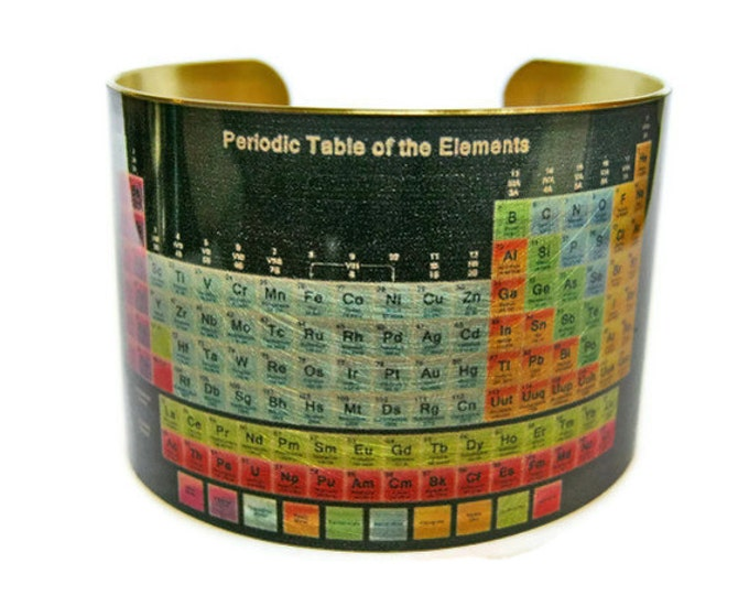 Periodic Table of Elements cuff bracelet brass Gifts for her Science chemistry