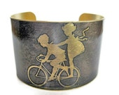 Kids on Bike cuff bracelet brass Gifts for her