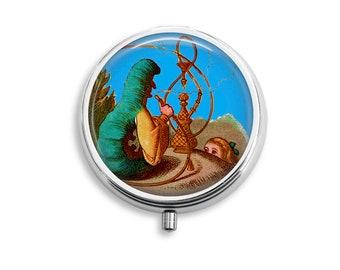 Pill Box Case Alice in Wonderland Smoking Caterpillar Silver Stash