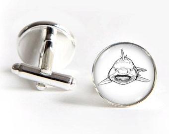 SHARK Cufflinks silver 18mm cuff links Gifts for him