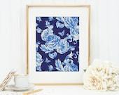 Blue Roses Art Print 8x10 5x7 4x6 Canvas Print STAR MS
