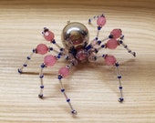 Pink & Blue High Priestess Hand Beaded Spider with Stand