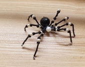 Black & Pearl High Priestess Hand Beaded Spider with Stand