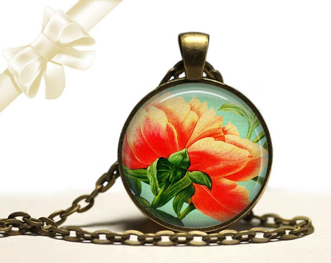 Underside of Peony Necklace brass Pendant Necklace Free Shipping Gifts for her