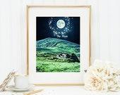 The Moon Tarot Card Art Print 8x10 5x7 4x6 Canvas Print STAR MS