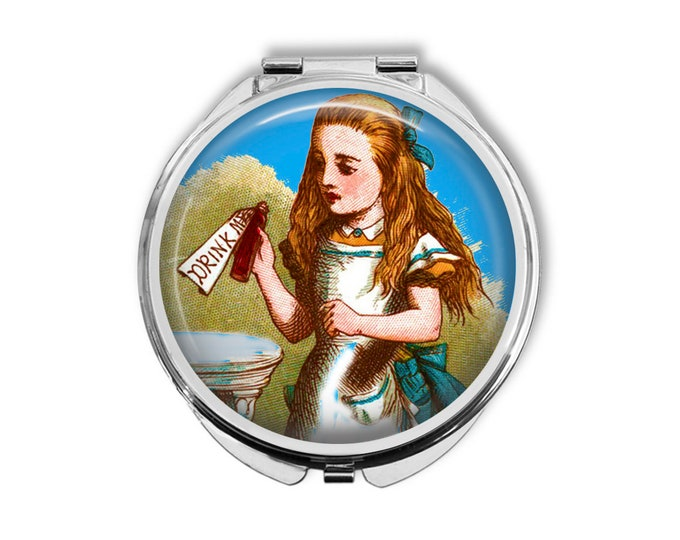 Alice In Wonderland Drink Me Compact Mirror Pocket Mirror Large Gifts for her