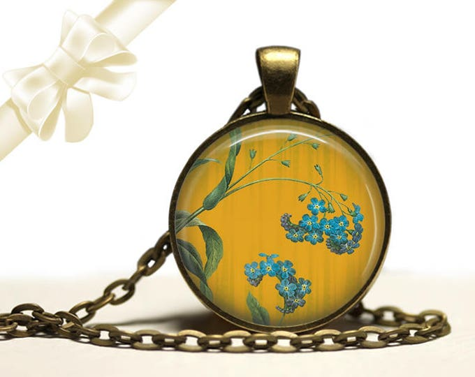 Forget-Me-Not Necklace brass Pendant Necklace Free Shipping Gifts for her