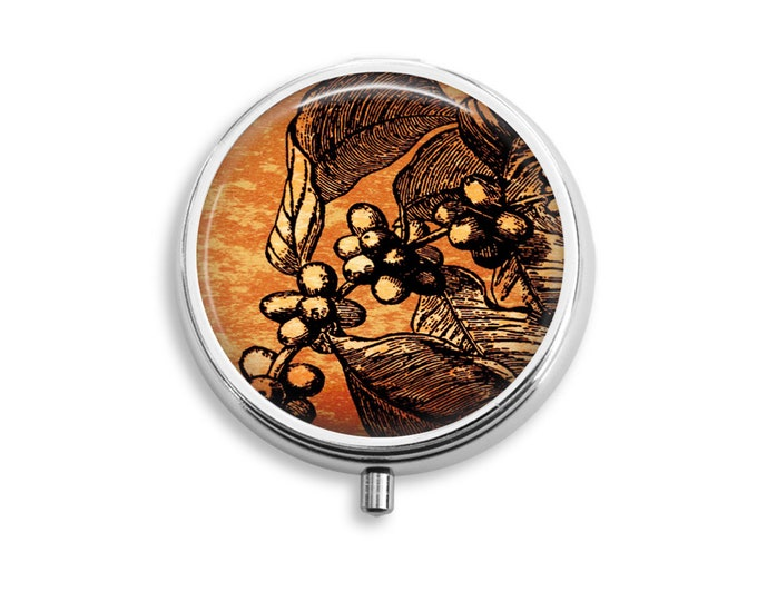 Coffee Tree Pill Box Stash Case Silver