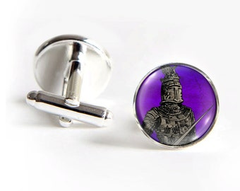 KNIGHT Cufflinks silver 18mm cuff links Gifts for him