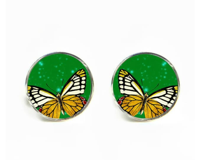 Butterfly small post stud earrings Stainless steel hypoallergenic 12mm Gifts for her