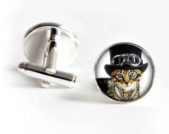 Dandy Cat Cufflinks steampunk silver 18mm cuff links Gifts for him