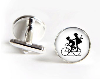 Kids on BIKE Cufflinks silver 18mm cuff links Gifts for him
