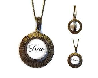True / False SPINNER Brass Spin Pendant Necklace fortune teller