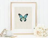 Butterfly in Blue Art Print 8x10 5x7 4x6 Canvas Print STAR MS