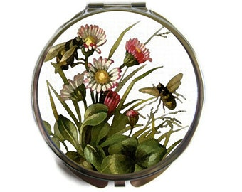 Watercolor Bees Compact Mirror Pocket Mirror Large