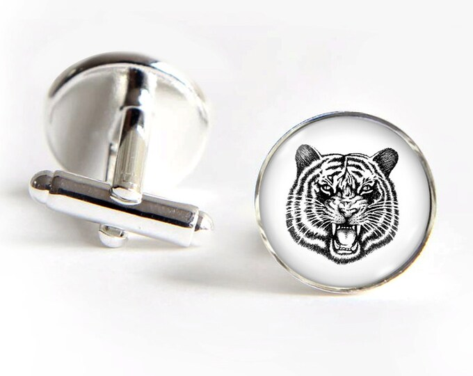 TIGER Cufflinks silver 18mm cuff links Gifts for him