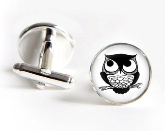 OWL Cufflinks silver 18mm cuff links Gifts for him