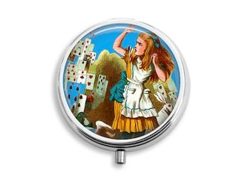 Pill Box Case Alice in Wonderland Cards Silver Stash