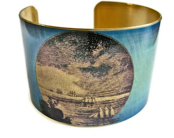 Galleon Ships cuff bracelet brass   Gifts for her