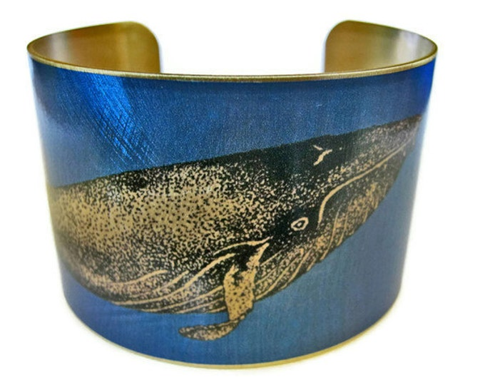 Whale cuff bracelet humpback brass Gifts for her