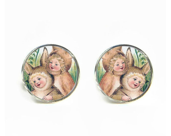 Victorian Bunny Kids small post stud earrings Stainless steel hypoallergenic 12mm Gifts for her