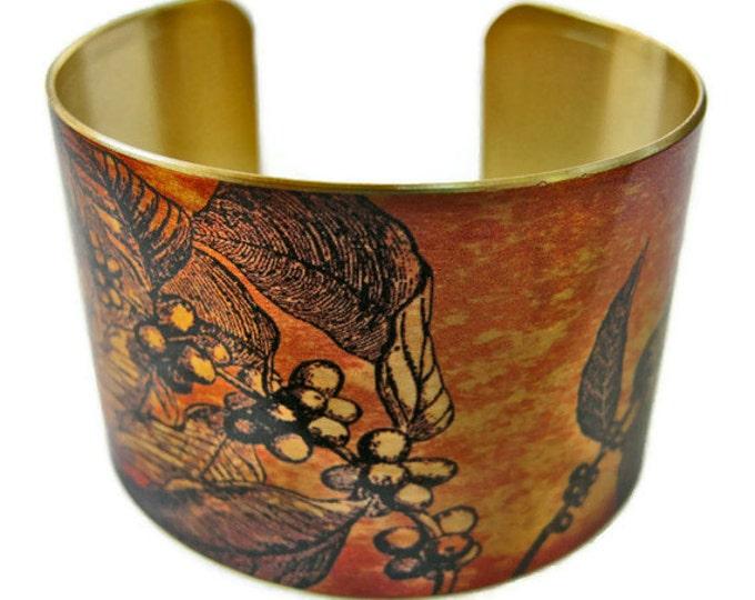 Coffee Branch cuff bracelet brass Gifts for her
