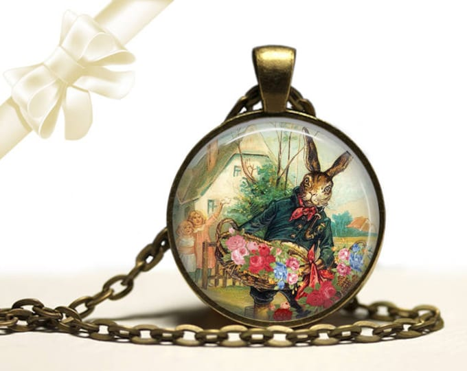 Rabbit Flower Vendor Necklace brass Pendant Necklace Free Shipping Gifts for her