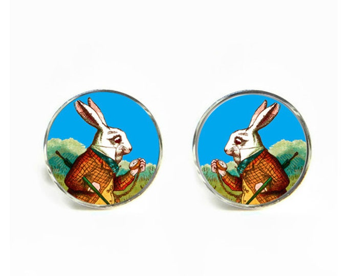 Alice in Wonderland White Rabbit small post stud earrings Stainless steel hypoallergenic 12mm Gifts for her