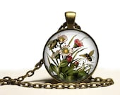 Watercolor Bees Necklace brass Pendant Free Shipping Gifts for her
