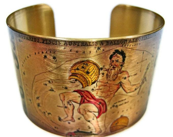 Aquarius Zodiac Astrology Hoscope cuff bracelet brass Gifts for her