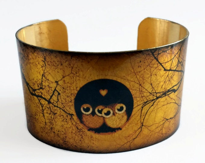Night Owls cuff bracelet brass jewelry Gifts for her