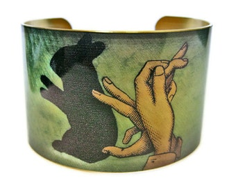 Rabbit Shadow Puppet cuff bracelet brass Gifts for her