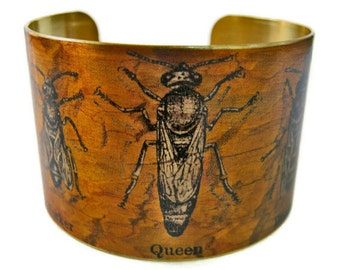 Bees cuff bracelet Wker, Queen, Drone brass Gifts for her beekeeper