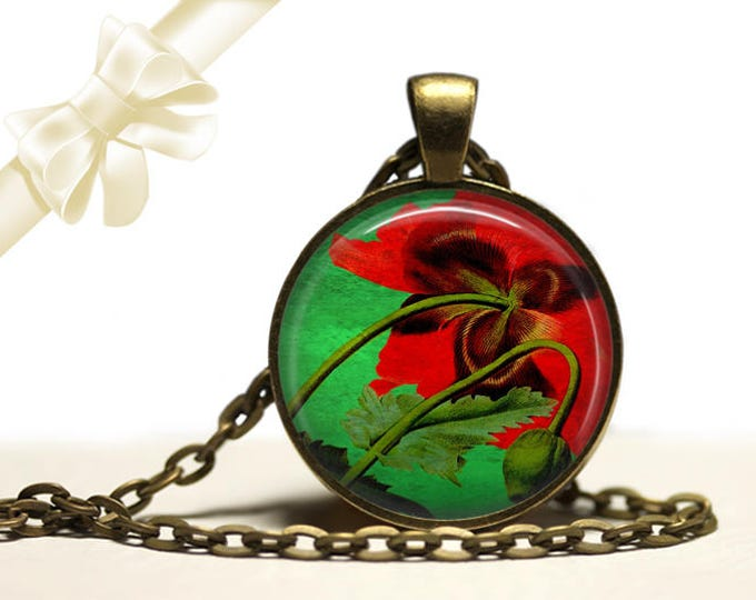 Underside of Poppy Necklace brass Pendant Necklace Free Shipping Gifts for her