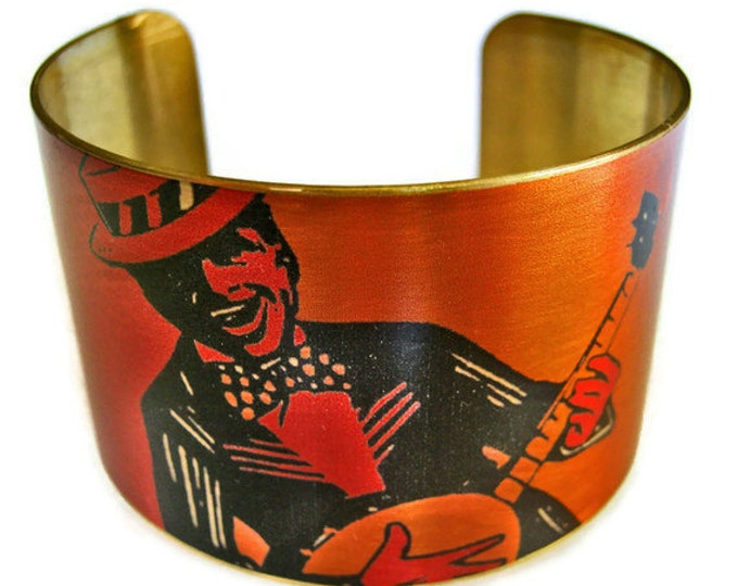 Banjo Player cuff bracelet brass adjstable Free Shipping to USA Gifts for her
