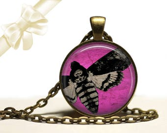 Death's Head Moth brass Pendant Necklace Free Shipping Gifts for her