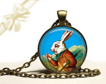 Alice in Wonderland White Rabbit brass Pendant Necklace Free Shipping Gifts for her