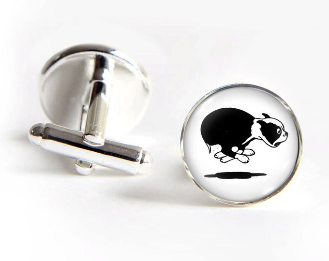 Boston Terrier Cufflinks silver 18mm cuff links Gifts for him