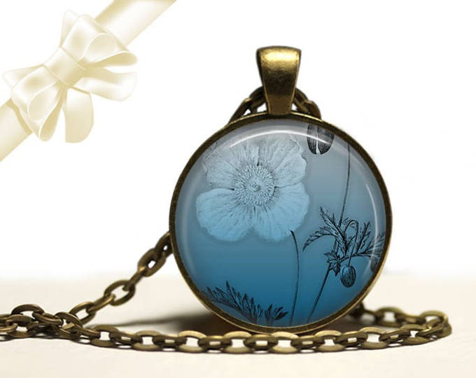 Ombre Poppy Necklace brass Pendant Necklace Free Shipping Gifts for her
